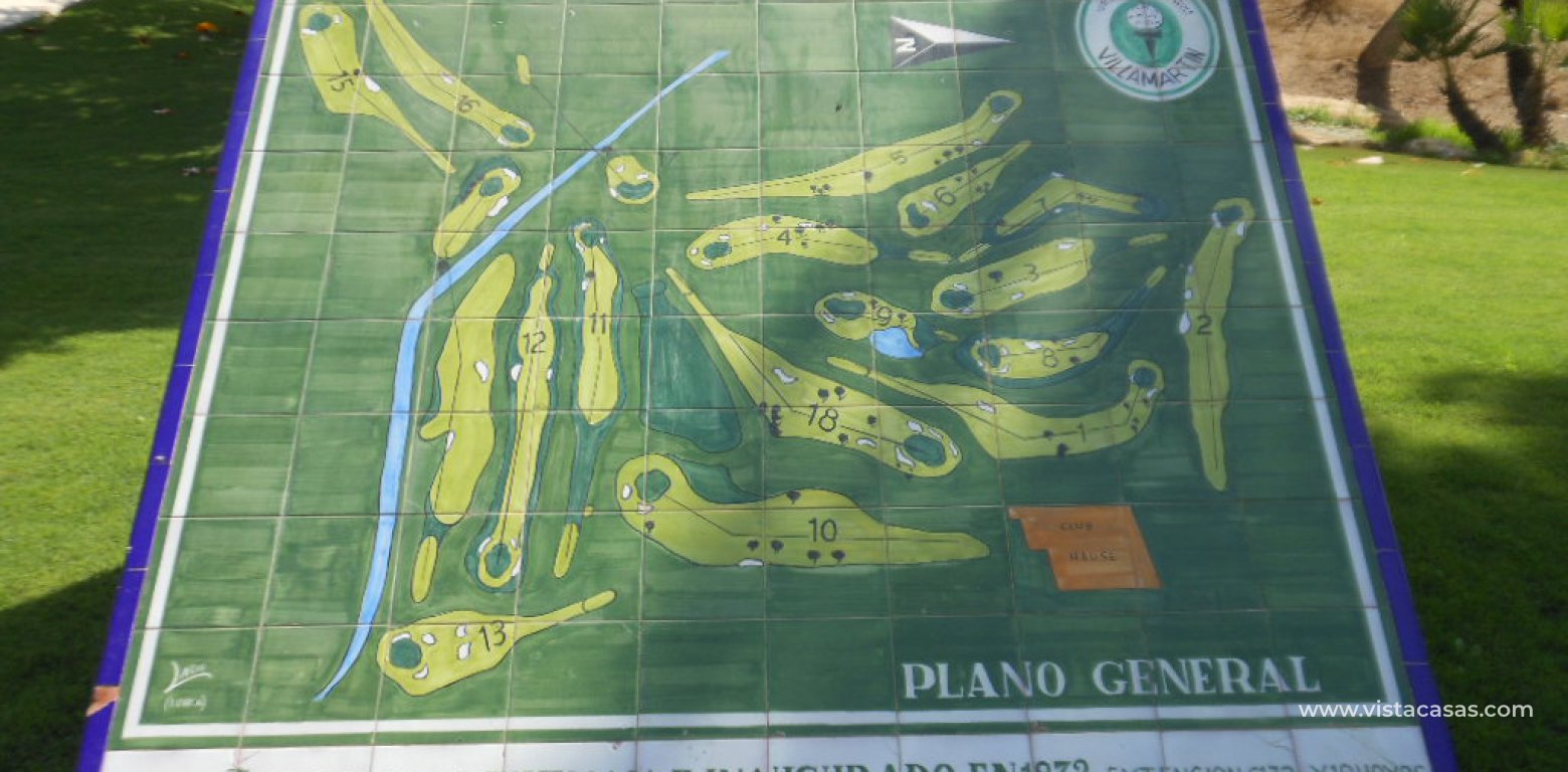 Frontline golf villa for sale in Villamartin golf map